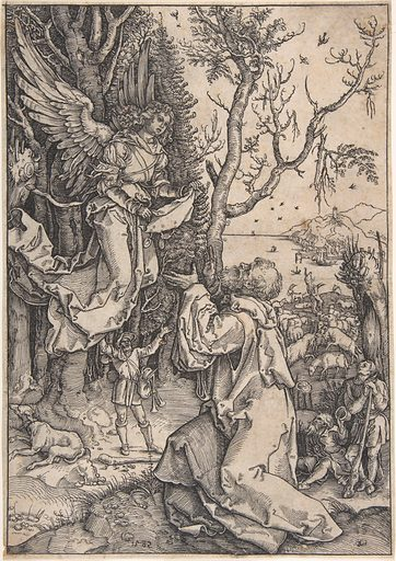 Recto: Joachim and the Angel; Verso, in upper right hand corner: three figures with loose draperies (1582). Accession number: 2003.366.