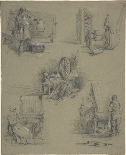 Five drawings showing processes of weaving and spinning (19th century). Accession number: 57.536.4.
