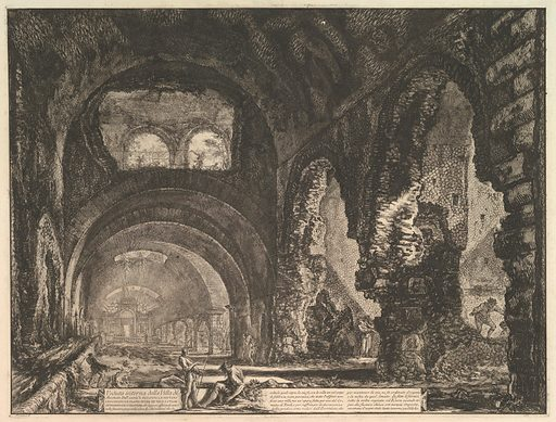 The so-called Villa of Maecenas at Tivoli. Interior with two figures in the opening of an arch above. (Veduta interna della Villa di Mecenate). Date: ca 1764. Accession number: 6059111.