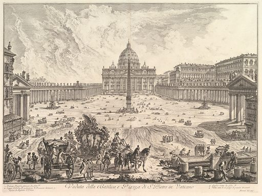 View of St. Peter's Basilica and Piazza in the Vatican, from Vedute di Roma (Roman Views) (ca. 1748). Accession number: 37.45.3(44).