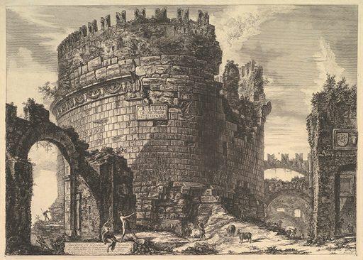 The tomb of Caecilia Metella, from Vedute di Roma (Roman Views). Date: ca 1762. Accession number: 565816.