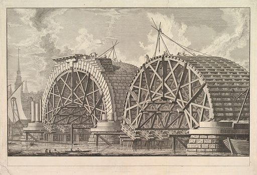 A view of part of the intended Bridge at Blackfriars, London (ca. 1764). Accession number: 62.600.683.