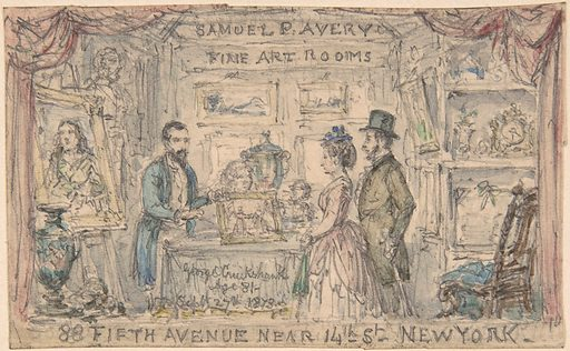 Design for Trade Card for Samuel P. Avery (1873). Accession number: 65.639.2.