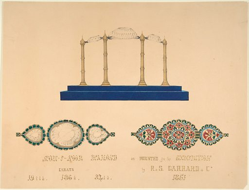 """Drawing of the """"Koh-I-Noor Diamond"""" (1851). Accession number: 66.562.24."""