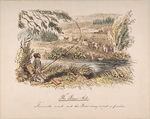 """""""The Riverside, Favourable Wind and the Trout Rising as Fast as Possible"""" (1830–64). Accession number: 51.593.10."""