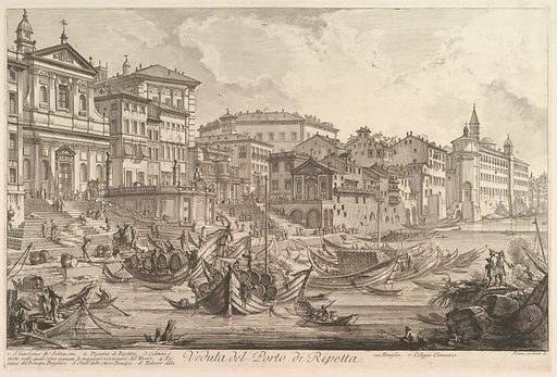 The smaller harbor, called the Porto di Ripetta (Veduta del Porto di Ripetta). Date: ca 1753. Accession number: 605918.