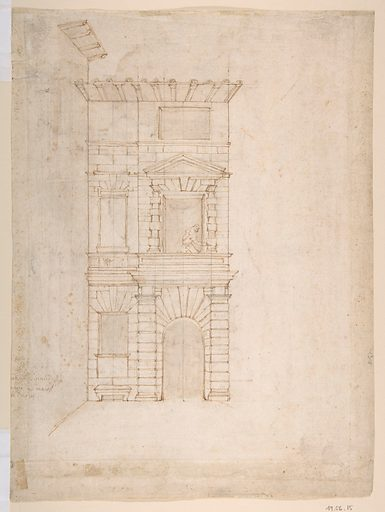 Elevation of Giulio Romano's House (recto); the Ruins from the Caelius Aqueduct and Temple of Claudius in Rome (verso) (ca. 1557). Accession number: 49.56.15.
