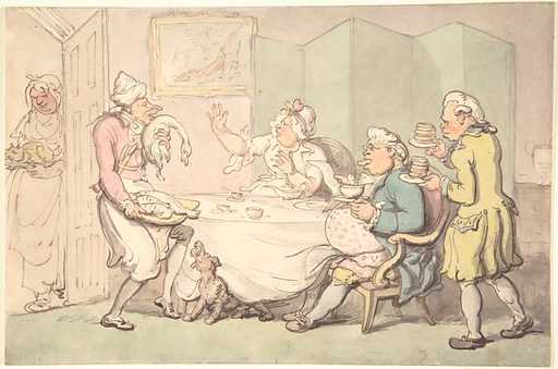 A Couple at Table with Servants (18th–19th century). Accession number: 59.533.1651.