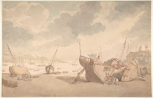 Harbor scene with the tide out, and beached boats (1775–1827). Accession number: 59.533.1657.