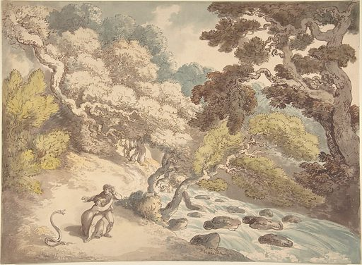 Landscape with rushing stream and a couple on the bank, frightened by a snake (1775–1827). Accession number: 59.533.1667.