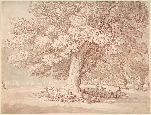 Herd of deer under an oak tree (1775–1827). Accession number: 59.533.563.