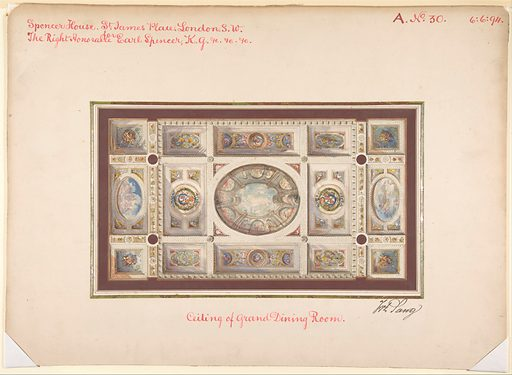 Ceiling of Dining Room, Spencer House, St. James Palace, London, about 1870 (ca. 1870). Accession number: 67.736.12.