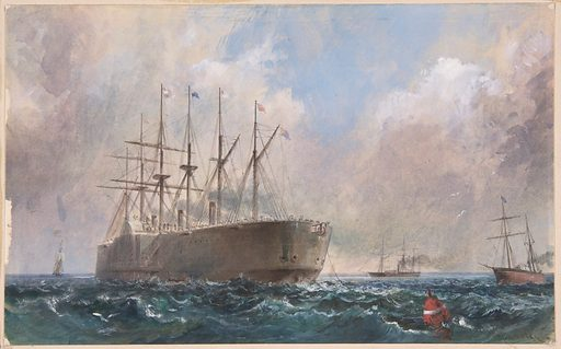 Telegraph Cable Fleet at Sea, 1865 (1865–66). Accession number: 92.10.88.