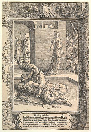Jael Killing Sisera,  ornamental frame (ca. 1517). Accession number: 22.10.6.