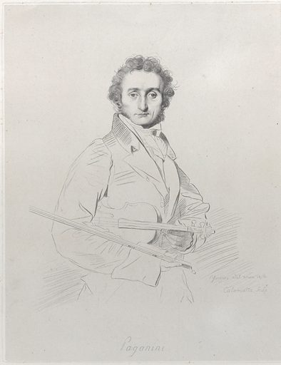 "Portrait of Niccolò Paganini (1830 (backdated ""1818"")). Accession number: 17.3.756-2183."