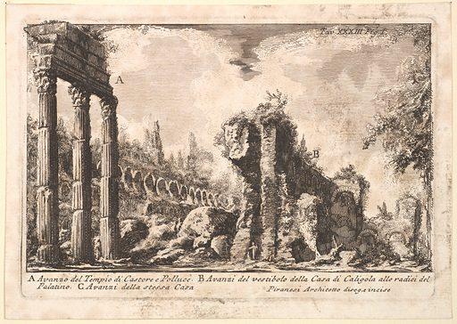 Remains of the Temple of Castor and Pollux . . . (Avanzo del Tempio di Castore e Polluce . . .) (18th century). Accession number: 17.3.3438.