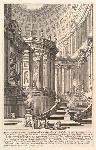 Imaginery ancient temple designed in the style of those built in honor of the Goddess Vesta… (Tempio antico inventato e disegnato alla maniera di quelli che si fabbricavano in onore della Dea Vesta…) (ca 1750). Accession number: 37.45.3(11).