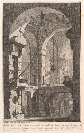 Dark prison with a courtyard for the punishment of criminals . . .(Carcere oscura con Antenna pel suplizio dè malfatori . . .) (ca. 1750). Accession number: 37.45.3(5).