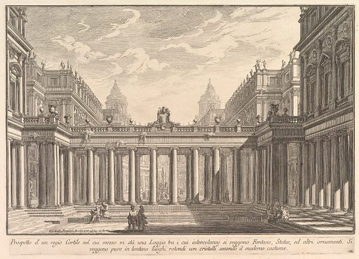 View of a courtyard with a loggia, fountains, statues, and other ornaments (Prospetto d