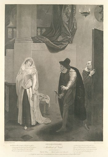 Shylock's House–Shylock, Jessica and Launcelot (Shakespeare, Merchant of Venice, Act 2, Scene 5) (first published 1795; reissued 1852). Accession number: 42.119.544.