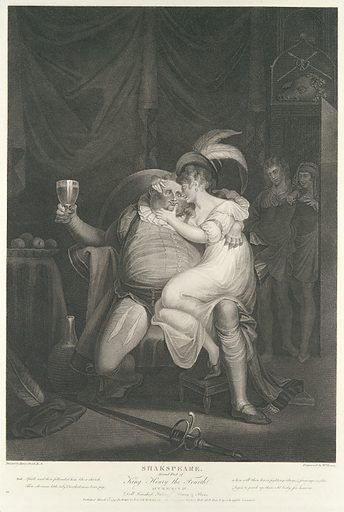 Doll Tearsheet, Falstaff, Henry and Poins (Shakespeare, King Henry IV, Part 2, Act 2, Scene 4) (first published 1795; reissued 1852). Accession number: 42.119.534.