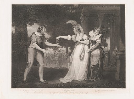 Before the Duke's Palace–Rosalind, Celia, Orlando, the Duke & Attendants (Shakespeare, As You Like It, Act 1, Scene 2) (first published 1800; reissued 1852). Accession number: 42.119.541.
