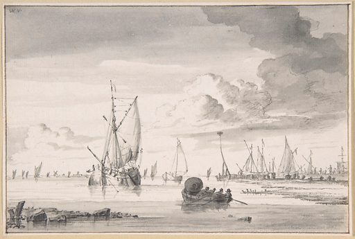 Various Ships and a Rowing Boat on an Estuary (n.d.). Accession number: 2004.302.