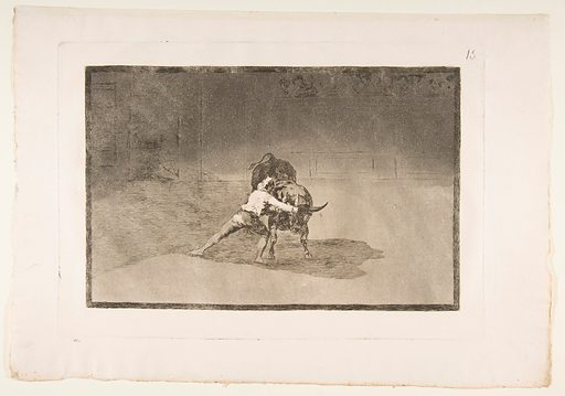 Plate 15 from the 'Tauromaquia': The famous Martincho places the banderillas playing the bull with the movement of his body. (1816). Accession number: 21.19.15.