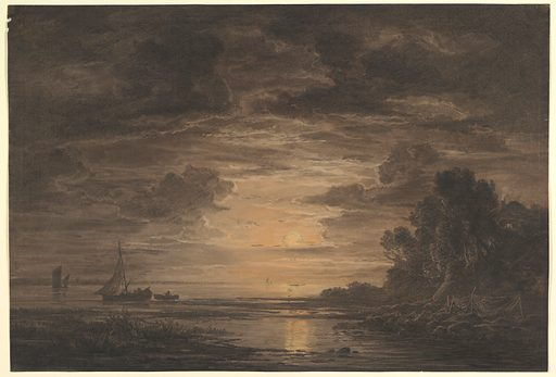 The River Elbe Downstream of Hamburg by Moonlight (ca. 1828). Accession number: 2004.374.