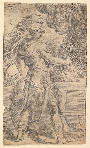 Mutius Scaevola placing his hand in the flames (left half of a composition, whose right half shows woman extending her right arms towards an altar) (ca. 1540). Accession number: 26.70.3(143).