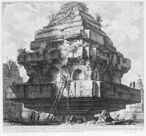 View of a large structure, remains of the Tomb of the Metelli on the Appian Way about five miles from Porta S Sebastiano, in the village of S Maria Nuova…, from Le Antichità Romane, tome 3, tavola 15. Date: published 1756–57. Accession number: 417113(15).