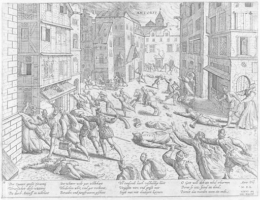 The Sack of Antwerp from Events in the History of the Netherlands, France, Germany and England between 1533 and 1608 (16th century). Accession number: 59.570.200(26).
