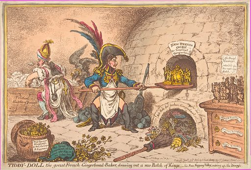 Tiddy-Doll, the Great French-Gingerbread-Baker. Drawing Out a New Batch of Kings, His Man Hopping Talley, Mixing Up the Dough. Date: January 23, 1806. Accession number: 42121(95).