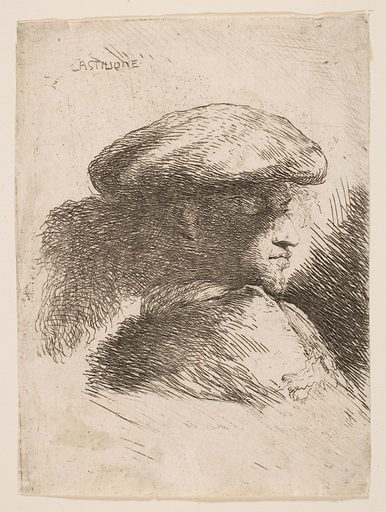 Man in profile facing right, wearing a fur hat, from series of 'Small Heads in Oriental Headdress' (ca 1645–1650). Accession number: 17.50.17–77.