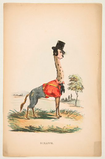 Giraffe (John E Owens as Jakey), from The Comic Natural History of the Human Race