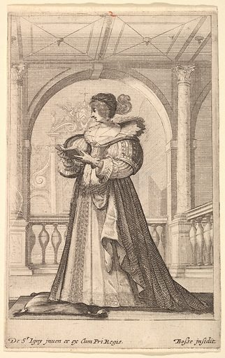 A woman standing, facing the left in profile, wearing a hat and a lace collar, reading from a prayer book (ca 1629). Accession number: 2012.136.23.