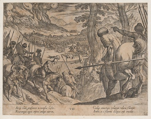 Plate 8: Alexander Encircling the Enemy Troops with Fire, from The Deeds of Alexander the Great. Date: 1608. Accession number: 515014091.
