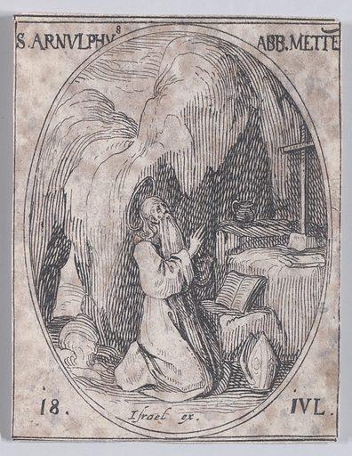 S Arnould, évêque de Metz (St Arnulf, Bishop of Metz), July 18th, from Les Images De Tous Les Saincts et Saintes de L'Année (Images of All of the Saints and Religious Events of the Year). Date: 1636. Accession number: 175017–371(240).
