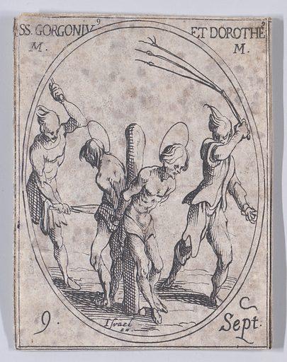 S Gorgon et St Dorothée, martyrs (St Gorgonius and St Dorotheus, Martyrs), September 9th, from Les Images De Tous Les Saincts et Saintes de L'Année (Images of All of the Saints and Religious Events of the Year) (1636). Accession number: 17.50.17–371(313).