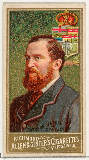 Governor General of Canada, from World's Sovereigns series (N34) for Allen & Ginter Cigarettes. Date: 1889. Accession number: 63350202349.