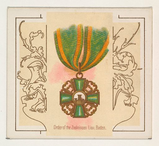 Order of the Zaehringen Lion, Baden, from the World's Decorations series (N44) for Allen & Ginter Cigarettes (1890). Accession number: 63.350.202.44.50.