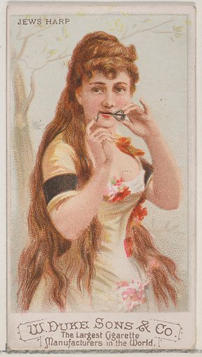 Jews Harp, from the Musical Instruments series (N82) for Duke brand cigarettes. Date: 1888. Accession number: 633502048229.