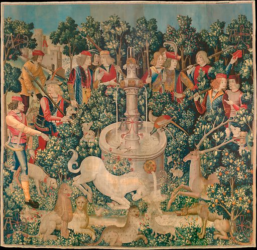 The Unicorn Purifies Water (from the Unicorn Tapestries) free public domain  image | Look and Learn
