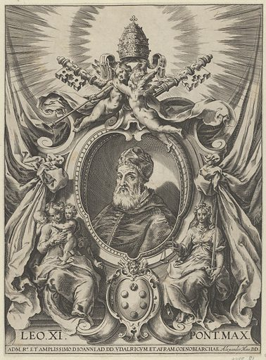 Portrait of Pope Leo X in a decorative border. Date: 1575–1620. Accession number: 515013783.