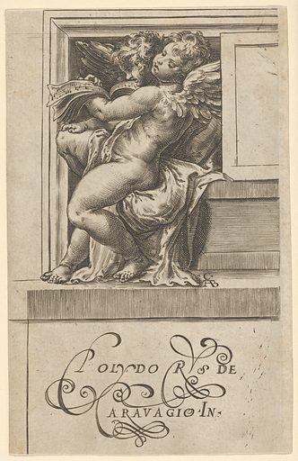 Two seated angels, facing left, reading from a song book, from The Angels' Concert. Date: 1583. Accession number: 515013777.