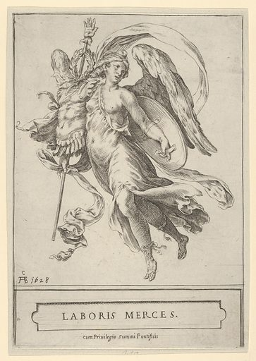 Winged Victory holding a trophy of arms in her right hand and a shield in her left. Date: 17th century. Accession number: 515013761.