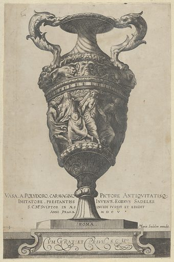 Title page depicting a two-handled base with dancing nymphs, from Antique Vases (Vasa a Polidoro Caravagino). Date: 1605. Accession number: 51501600.
