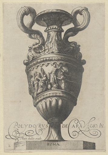 Plate 2: Two-handled vase with a nude figure on a pedestal at center, from Antique Vases ('Vasa a Polydoro Caravagino'). Date: 1605. Accession number: 51501601.
