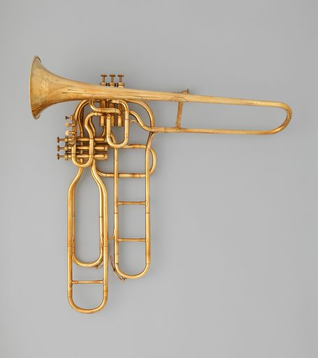 Tenor valve trombone. Date: ca 1863. French. Paris, France. Accession number: 2014488a–d.
