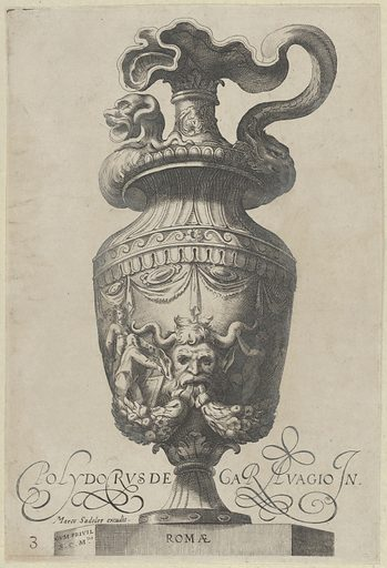 Plate 3: Vase with a satyr's mask and garlands, from Antique Vases (Vasa a Polydoro Caravagino). Date: 1605. Accession number: 51501602.